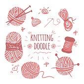 Knitting doodle icons set