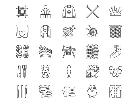 Knitting flat line icons set. Crochet, hand made scarf, wool ball, thread and needle vector illustrations. Outline signs of diy tools, atelier, editable stroke.