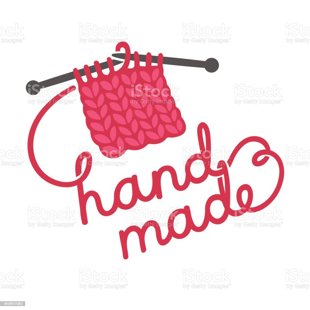 Knitting hand made lettering vector art illustration