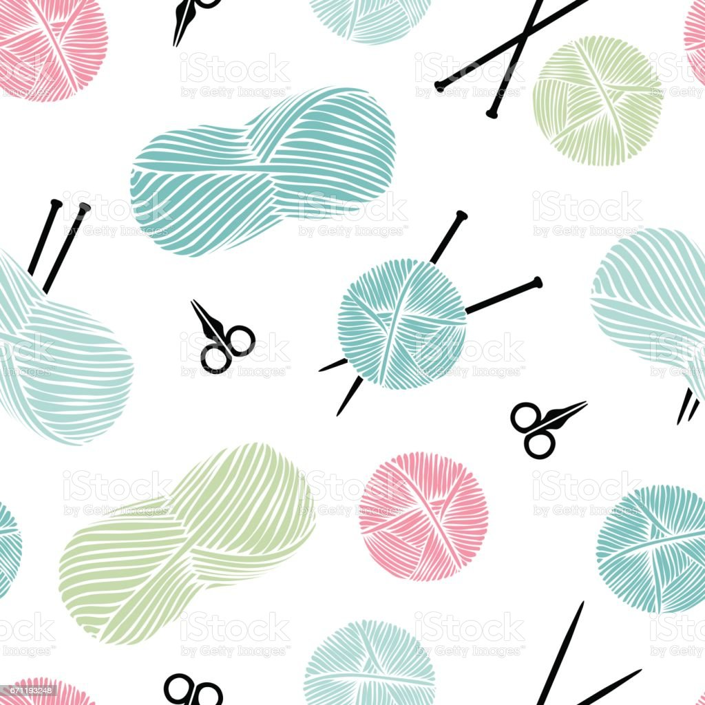 Knitting, handmade. Cute seamless background. vector art illustration