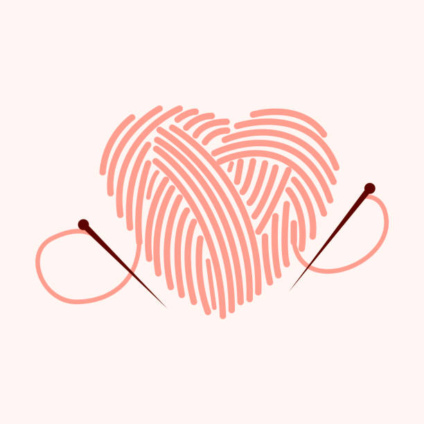 illustrazioni stock, clip art, cartoni animati e icone di tendenza di knitting heart illustration. knit icon.  lettering vector illustration. - tailor working