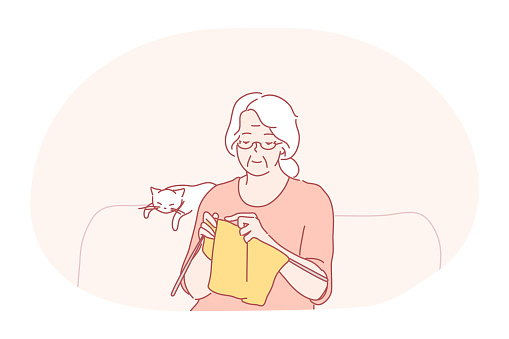 Knitting, hobbies of elderly people concept