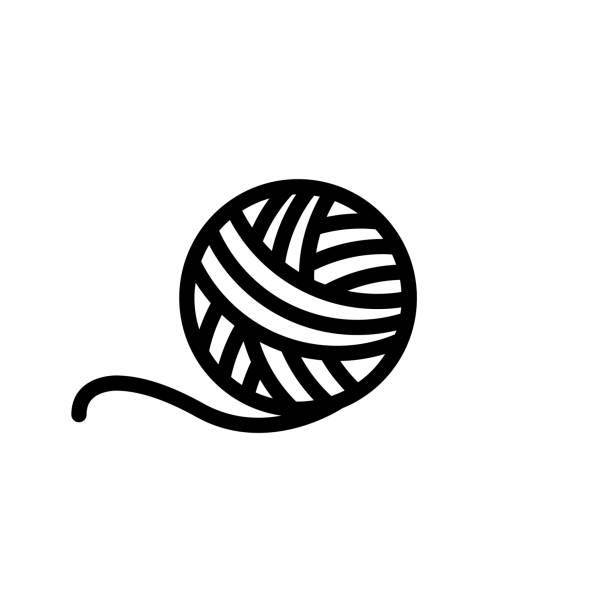 stockillustraties, clipart, cartoons en iconen met pictogram breien - wollig