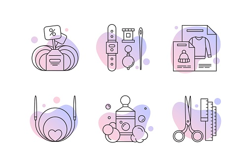 Knitting line icons set for yarn or tailor store
