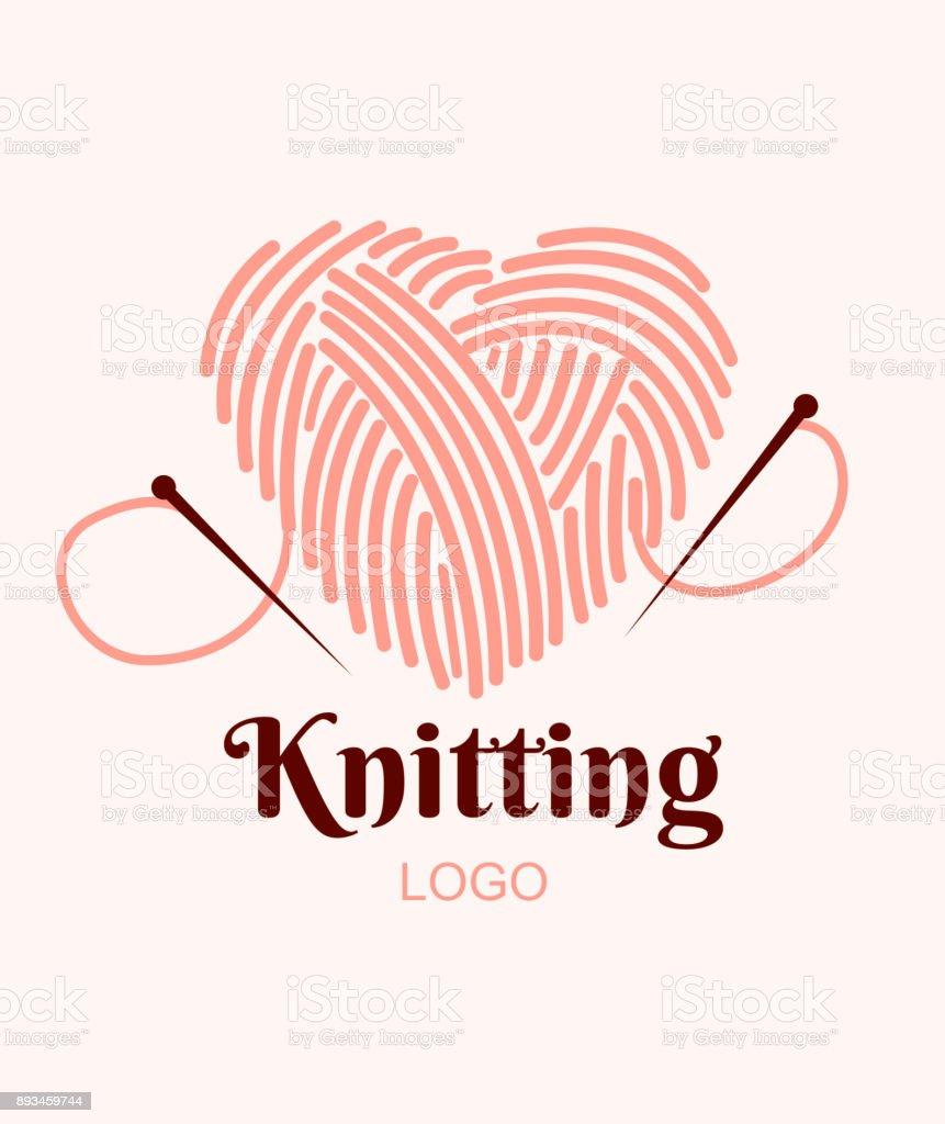 Logo de tejer. Bola de hilo en corazón con agujas. Ilustración de vector - ilustración de arte vectorial