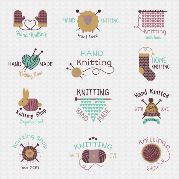 編み針ロゴ ベクトル ウール ニットまたはニット紡毛ソックス ロゴタイプ ボンジュク羊毛材料と白い背景で隔離のクロシェット図 - 編む点のイラスト素材/クリップアート素材/マンガ素材/アイコン素材