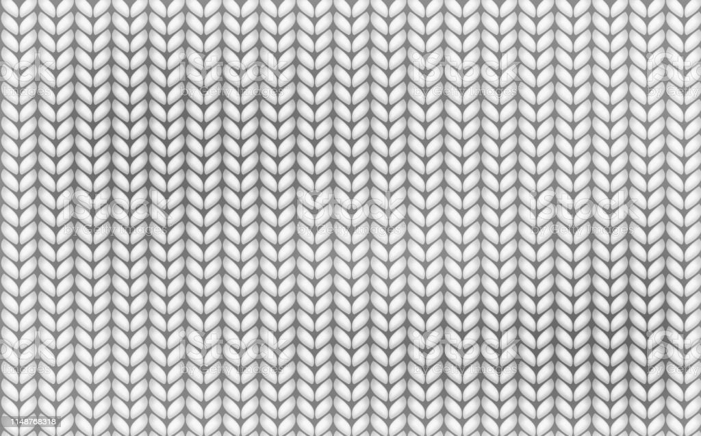 Knitting Realistic Texture Seamless Pattern White And Gray ...