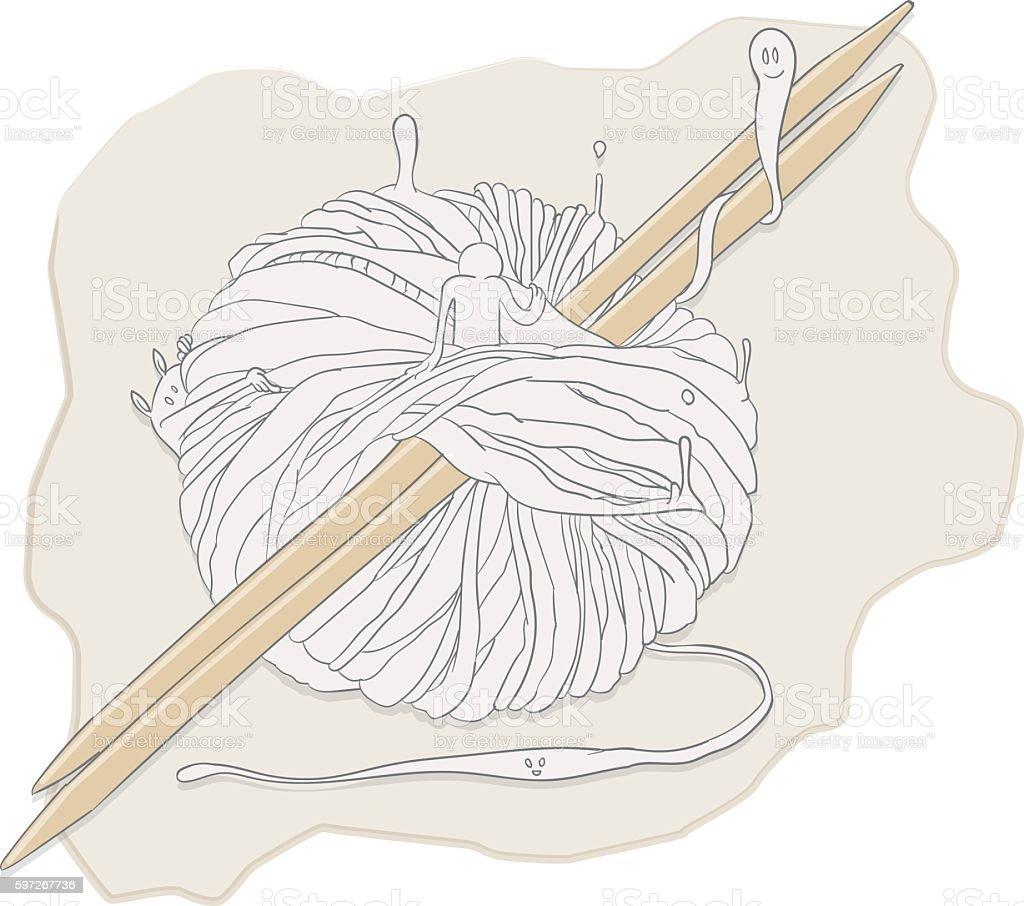 Knitting spirits Lizenzfreies knitting spirits stock vektor art und mehr bilder von fantasiewelt