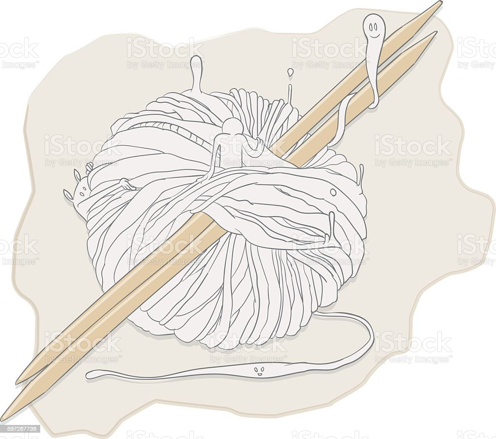 Knitting spirits royalty-free knitting spirits stock vector art & more images of cute