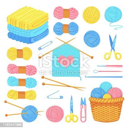Knitting tools and wool yarn set, isolated on white background. Vector craft and handmade needlework design elements. Fashion hobby flat cartoon icons.