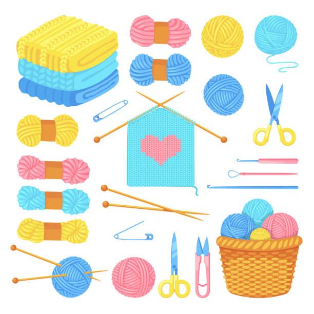 stockillustraties, clipart, cartoons en iconen met breien tools en wol garen set, geïsoleerd op witte achtergrond. vector ambachtelijke en handgemaakte naaldwerk ontwerpelementen - wollig