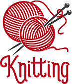Knitting vector ionc of knit pins and wool clew