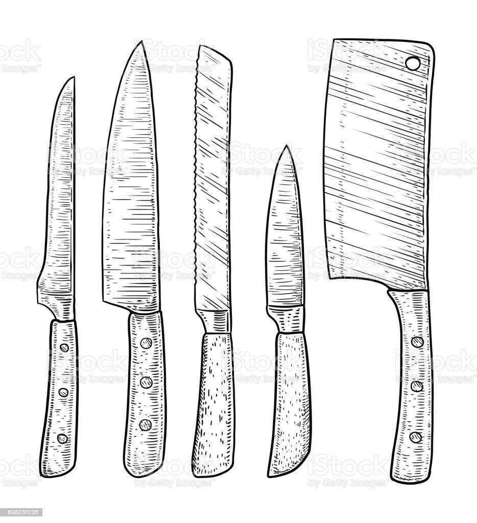 Illustration de couteaux, dessin, gravure, encre, dessin au trait, vecteur - Illustration vectorielle