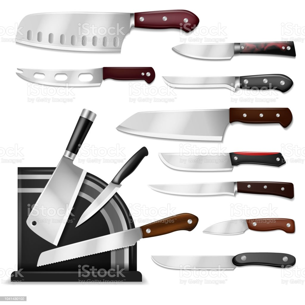 Knives Vector Butcher Meat Knife Set Chef Cutting With Kitchen