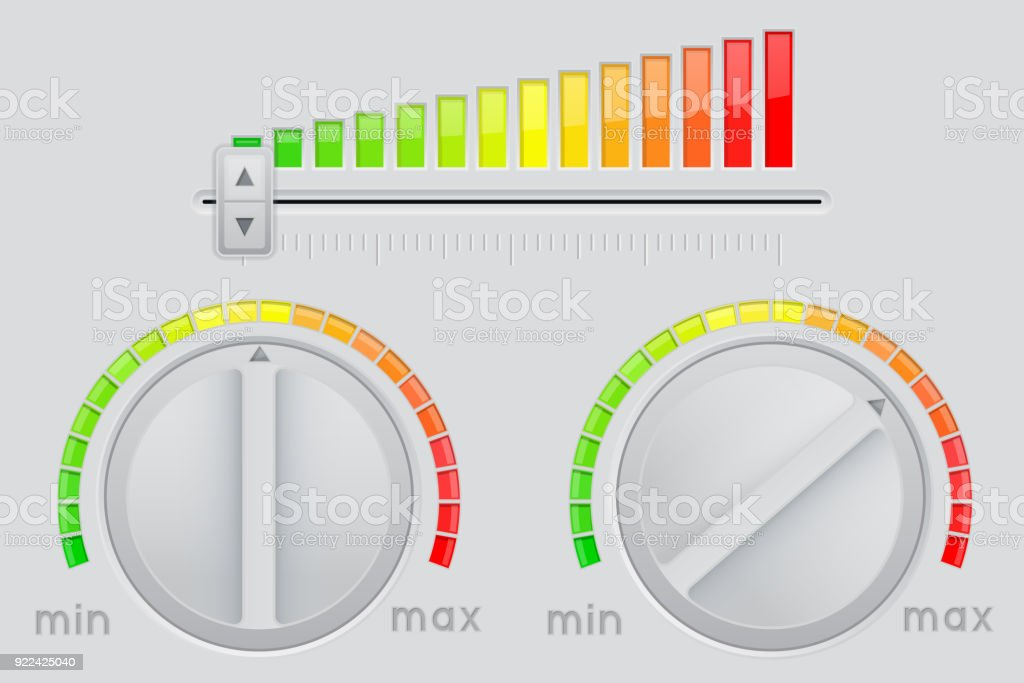 Knob button and volume slider bar. From minimum to maximum level vector art illustration