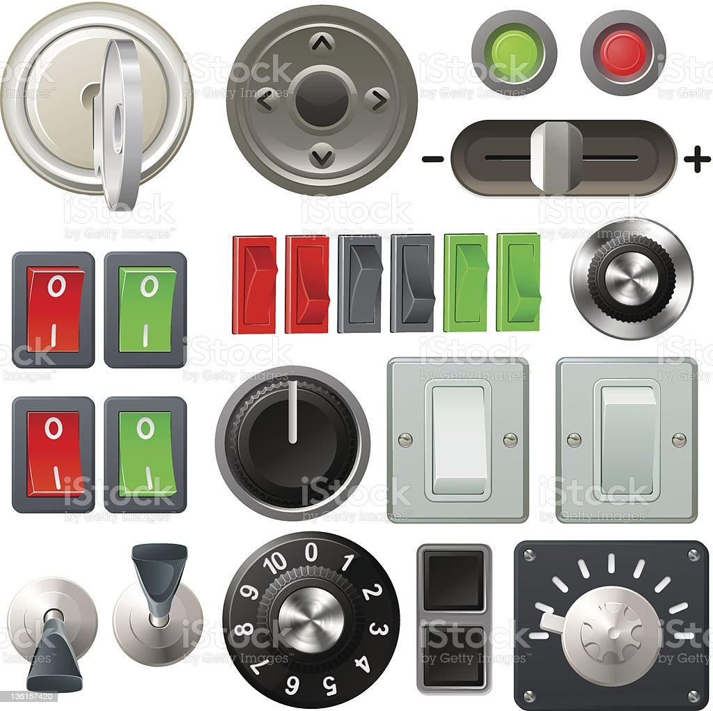 Knob switch and dial design elements vector art illustration