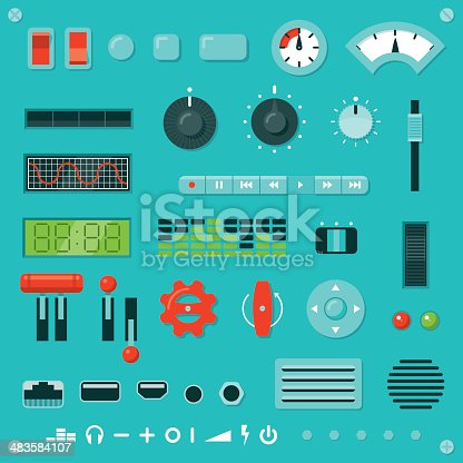 Set of parts for building your own machine interface. Includes assorted knobs, buttons, levers, switches, dials, sockets, vents, grilles, lights, digital displays, screws, rivets and icons, all in a flat graphic style.