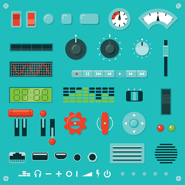 Knobs, Buttons, Levers, etc. Set of parts for building your own machine interface. Includes assorted knobs, buttons, levers, switches, dials, sockets, vents, grilles, lights, digital displays, screws, rivets and icons, all in a flat graphic style. knob stock illustrations