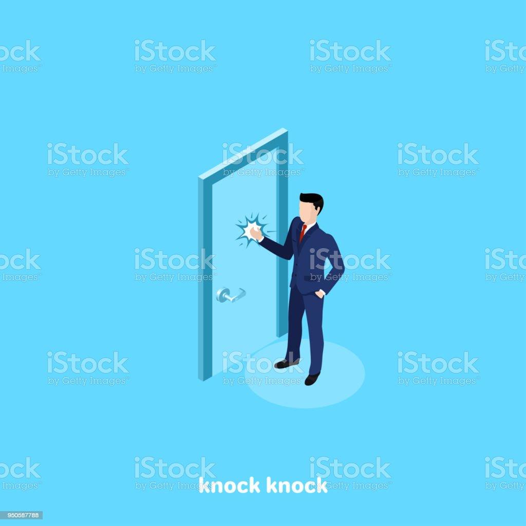 knock knock 2 vector art illustration