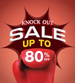 Knock out sale 80 percent heading design for banner or poster. Sale and Discounts Concept. Vector illustration.