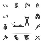 knockdown in action icon. Set of Cfight and sparring element icons. Premium quality graphic design. Signs and symbols collection icon for websites, web design, mobile app