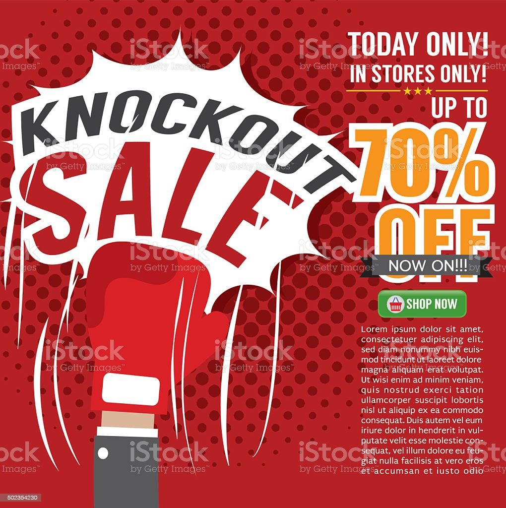 Knockout Sale Promotion. vector art illustration