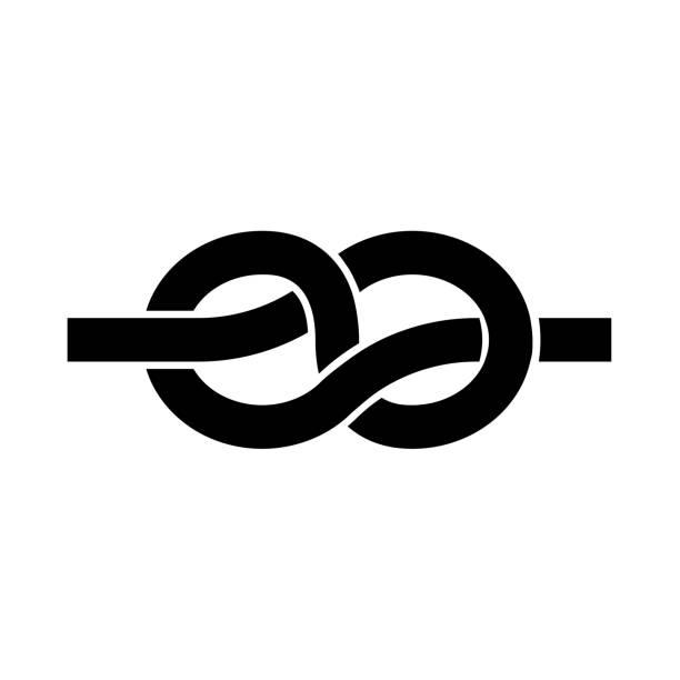 ilustrações, clipart, desenhos animados e ícones de nó é o ícone preto. - nó