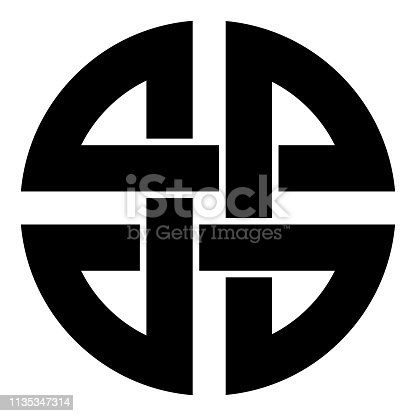 Knot shield symbol of protection Ancient symbol icon black color vector illustration flat style simple image