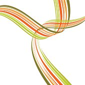 Colorful ribbons crossing each other. White background