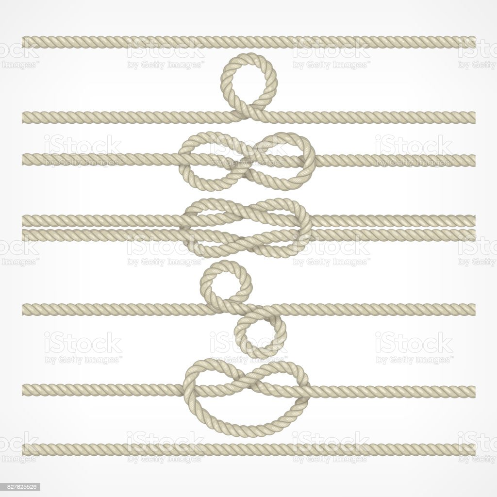 Knots and loops on ropes vector art illustration