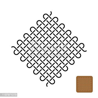 Knots weave symbol illustration. Woven tight lines symbol. Adjustable stroke outline width.