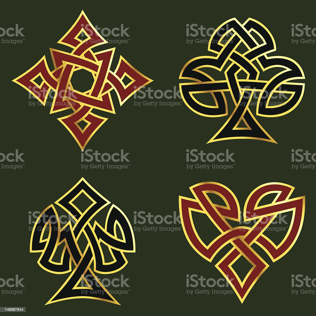 Knotwork card suits royalty-free knotwork card suits stock vector art & more images of at the edge of