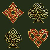 Celtic knotwork designs for card suits, with a gold rim. Includes Inkscape SVG and AI CS3 files