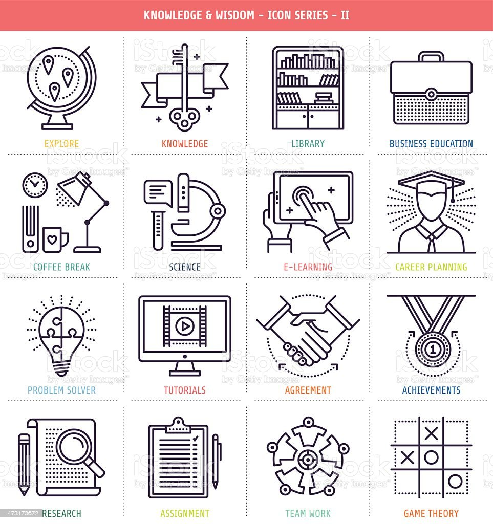 Knowledge and Wisdom Icons Set vector art illustration