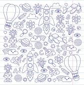 Knowledge Imagination Fantasy Kids drawing style Creative education concepts Kindergarten School Pre-school Nurcery