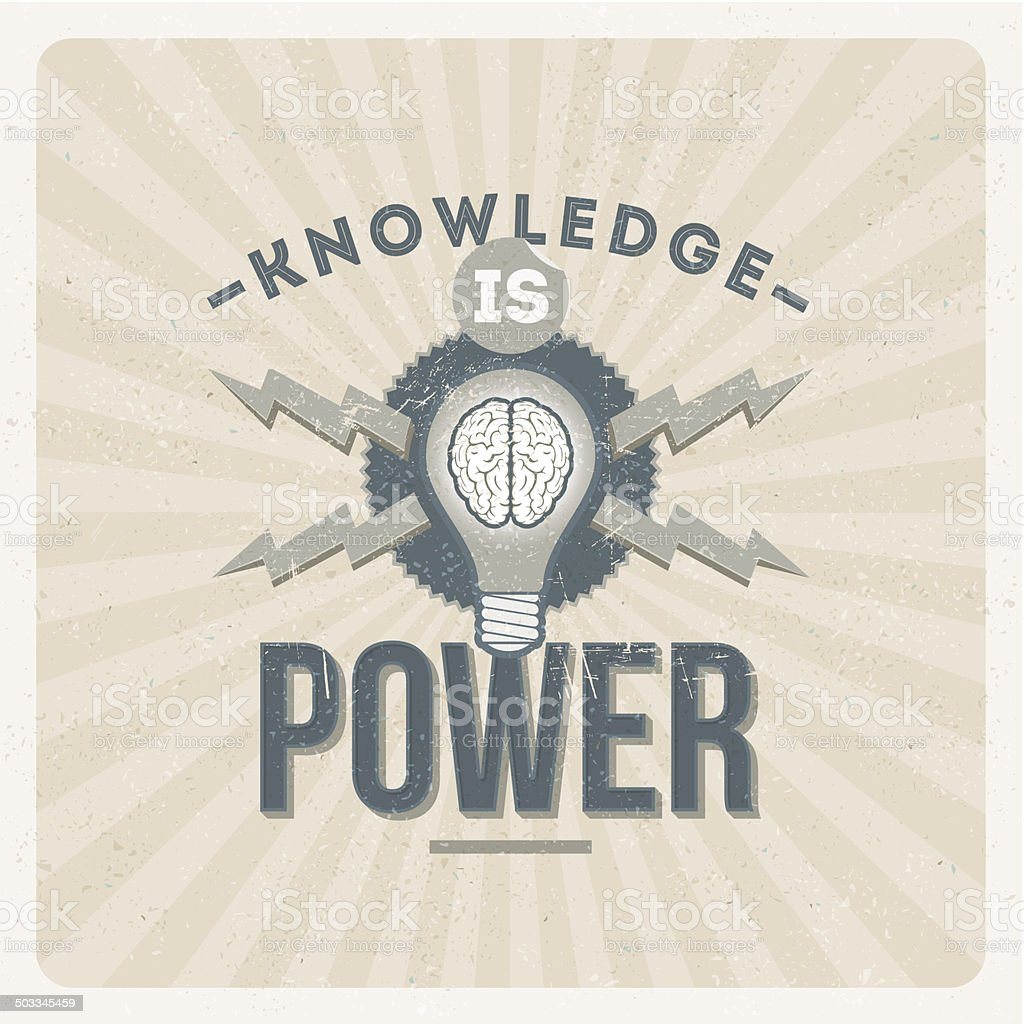 Knowledge is power - quote typographical vintage design vector art illustration