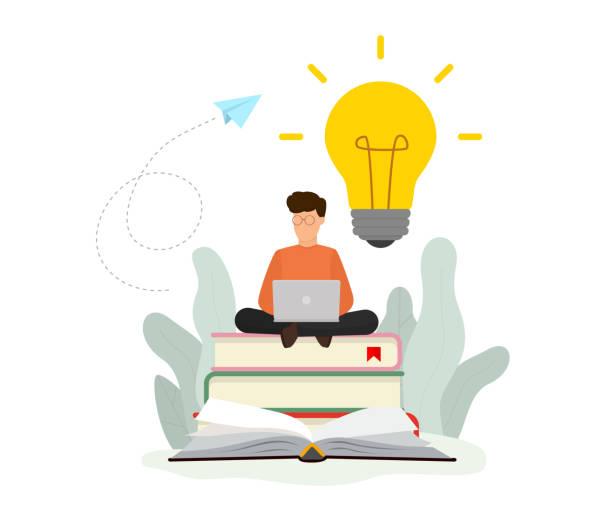 Knowledge online concept. Online training courses, online book, distance education. Vector illustration. Flat design. EPS 10. vector art illustration