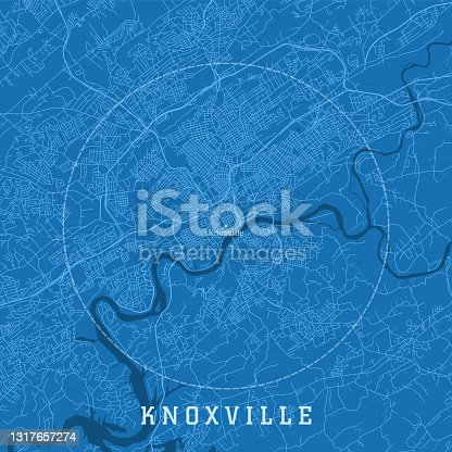 istock Knoxville TN City Vector Road Map Blue Text 1317657274