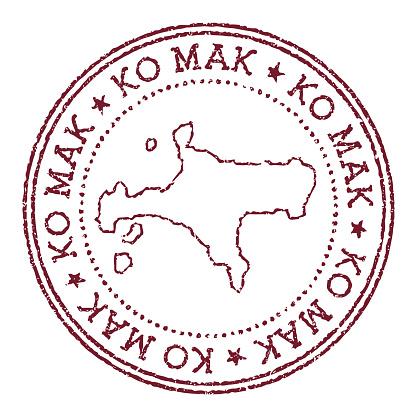 Ko Mak round rubber stamp with island map.