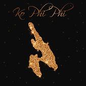 Ko Phi Phi map filled with golden glitter. Luxurious design element, vector illustration.