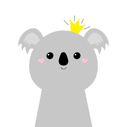 Koala bear face head icon. Cute kawaii animal. Golden crown. Cute cartoon funny baby character. Kids print for poster, t-shirt. Love. Scandinavian style. Flat design. White background. Isolated