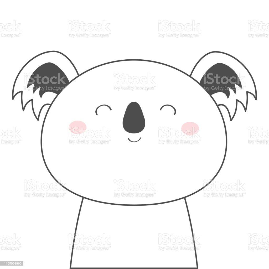 Lours De Koala Visage Tete Ligne Croquis Icone Animal Kawaii