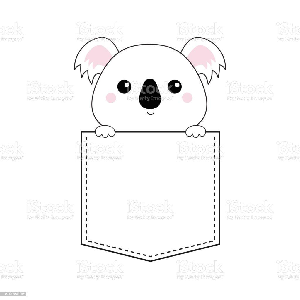 Koala bear tête de face dans la poche maintenant les mains de patte doodle