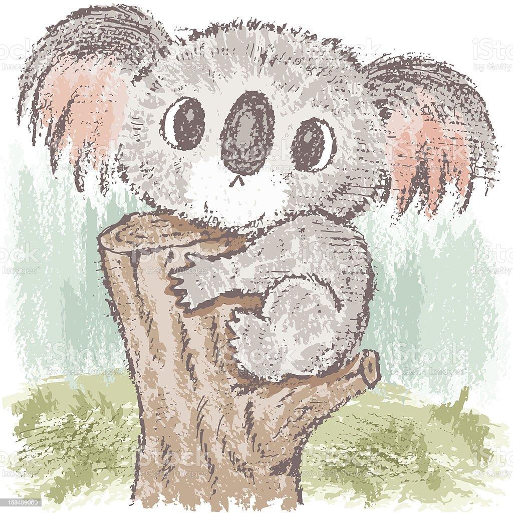 Koala bear on tree vector art illustration