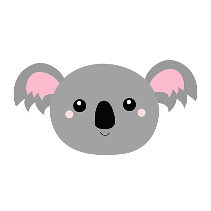 Koala bear oval face head icon. Cute cartoon funny baby character. Kawaii animal. Notebook cover, t-shirt print. Gray silhouette. Love Greeting card. Flat design. White background.
