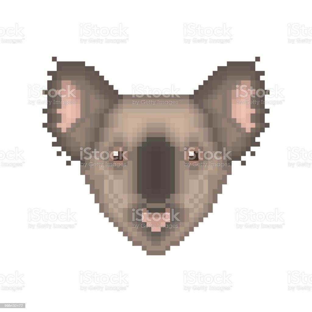 Portrait Art De Koala Bear Pixel Icône Animaux De Dessin