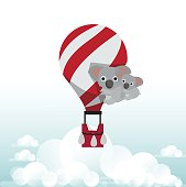 koala bear with balloon - vector illustration