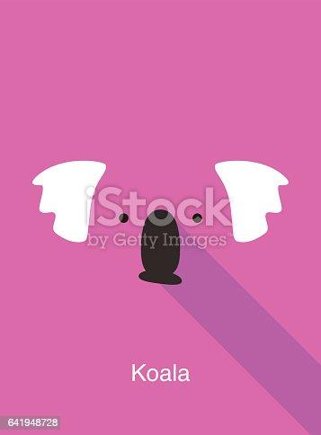 istock Koala cartoon face, flat animal face icon vector 641948728