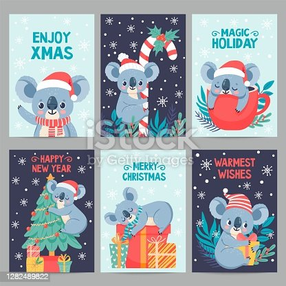 istock Koala christmas. Happy animals with gift boxes. Cute merry christmas cards with koalas. Little australian bear in winter holiday vector set 1282489822