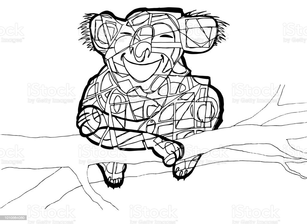 Ilustración de Página Para Colorear De Koala y más banco de imágenes ...